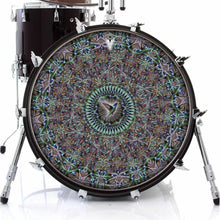 Hummingbird graphic drum skin on bass drum head; spiritual drum art