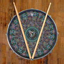 Hummingbird graphic drum skin on snare drum head by Visionary Drum; mandala drum art