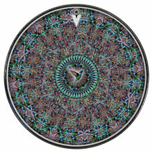Hummingbird graphic drum skin installed on bass drum head by Visionary Drum; bird drum art
