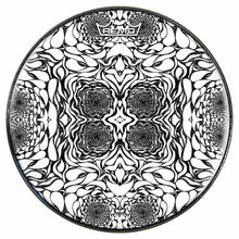 In the Eddies Design Remo-Made Graphic Drum Head by Visionary Drum; black pattern drum art