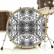 In the Eddies bass face drum banner installed on drum kit; black and white drum art