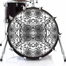In the Eddies design graphic drum skin on bass drum by Visionary Drum; abstract water drum art