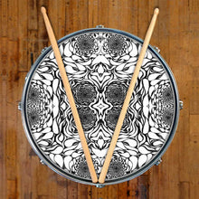 In the Eddies design graphic drum skin on snare drum by Visionary Drum; water mandala drum art