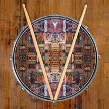 In the Portal design graphic drum skin on snare drum by Visionary Drum; mandala drum art
