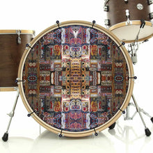 In the Portal bass face drum banner installed on bass drum; mandala drum art