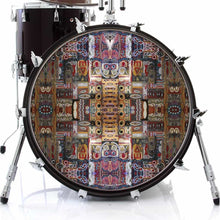 In the Portal design graphic drum skin on bass drum head; visionary drum art