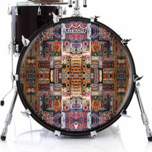 In the Portal Design Remo-Made Graphic Drum Head on Bass Drum; visionary drum art