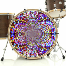 Infinite Dots bass face drum banner installed on drum kit; psychedelic drum art