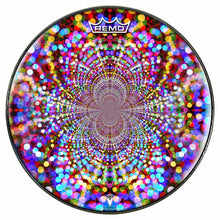 Infinite Dots Design Remo-Made Graphic Drum Head by Visionary Drum; rainbow drum art