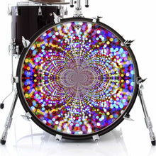 Infinite Dots design graphic drum skin on bass drum head by Visionary Drum; abstract pattern drum art