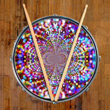 Infinite Dots design graphic drum skin on snare drum head by Visionary Drum; purple drum art
