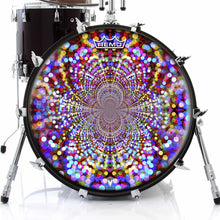 Infinite Dots Design Remo-Made Graphic Drum Head on Bass Drum; geometric pattern drum art