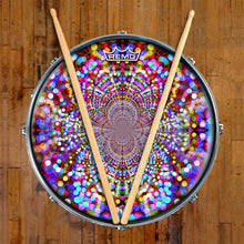 Infinite Dots Design Remo-Made Graphic Drum Head on Snare Drum; visionary drum art