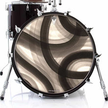 Inkwash Lanes design graphic drum skin on bass drum head by Infinity Arts; black drum art