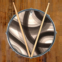 Inkwash Lanes design graphic drum skin on snare drum head by Infinity Arts; black and white drum art
