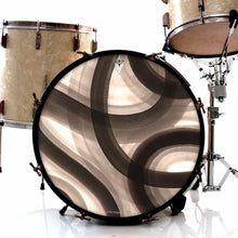 Inkwash Lanes graphic drum skin installed on bass drum head and shown on drum kit; black swirl drum art