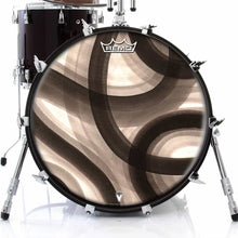 Inkwash Lanes Design Remo-Made Graphic Drum Head on Bass Drum; abstract drum art