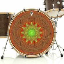 Innerstar bass face drum banner installed on bass drum; visionary drum art