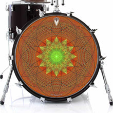 Innerstar design graphic drum skin on bass drum head by Visionary Drum; sacred geometry drum art