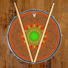 Innerstar design graphic drum skin on snare drum by Visionary Drum; spiritual drum art