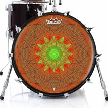Innerstar Design Remo-Made Graphic Drum Head on Bass Drum; orange drum art