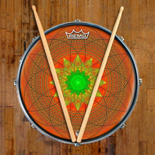 Innerstar Design Remo-Made Graphic Drum Head on Snare Drum; mandala drum art