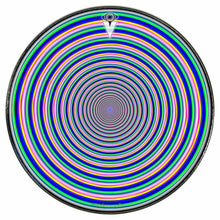Inverted Rainbow graphic drum skin installed on bass drum head by Visionary Drum; rainbow drum art