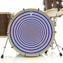 Inverted Rainbow bass face drum banner installed on drum kit by Visionary Drum; psychedelic drum art