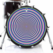 Inverted Rainbow graphic drum skin on bass drum by Visionary Drum; rainbow drum art