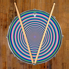 Inverted Rainbow graphic drum skin on snare drum head by Visionary Drum; geometric drum art