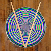 Inverted Rainbow Design Remo-Made Graphic Drum Head on Snare Drum; blue, green drum art