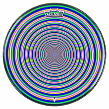 Inverted Rainbow Design Remo-Made Graphic Drum Head by Visionary Drum; geometric drum art