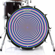 Inverted Rainbow Design Remo-Made Graphic Drum Head on Bass Drum; circle drum art