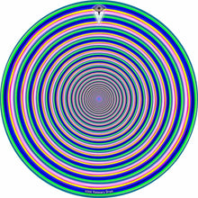 Inverted Rainbow design graphic drum skin by Visionary Drum; blue circle drum art