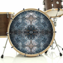 Jupiter Cloud bass face drum banner installed on drum head; abstract drum art