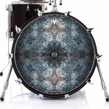 Jupiter Cloud graphic drum skin on bass drum head by Visionary Drum; blue pattern drum art