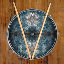 Jupiter Cloud graphic drum skin on snare drum head by Visionary Drum; mandala drum art