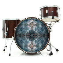 Jupiter Cloud graphic drum skin installed on bass drum head shown on drum kit; visionary drum art