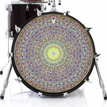 Kaleidoscopic graphic drum skin on bass drum by Visionary Drum; geometric drum art