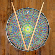 Kaleidoscopic graphic drum skin on snare drum head by Visionary Drum; mandala drum art