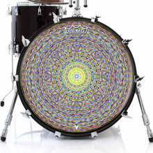 Kaleidoscopic Design Remo-Made Graphic Drum Head on Bass Drum; psychedelic drum art