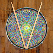 Kaleidoscopic Design Remo-Made Graphic Drum Head on Snare Drum; mandala drum art