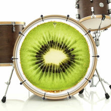 Kiwi bass face drum banner installed on drum kit by Visionary Drum; mouth-watering drum art