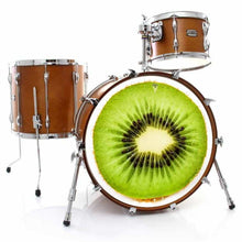 Kiwi graphic drum skin installed on bass drum head and shown on drum kit; seed drum art