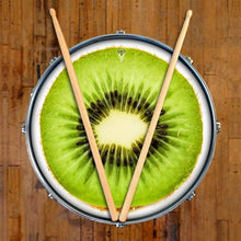 Kiwi graphic drum skin on snare drum head by Visionary Drum; nature drum art