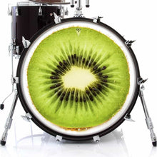 Kiwi graphic drum skin on bass drum head by Visionary Drum; fruit drum art