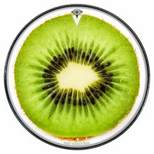 Kiwi graphic drum skin installed on bass drum head by Visionary Drum; green food drum art