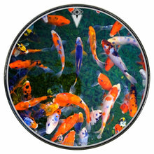 Koi graphic drum skin installed on bass drum head by Visionary Drum; orange fish drum art