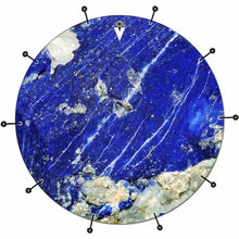 Lapis Lazuli bass face drum banner by Visionary Drum; abstract nature drum art