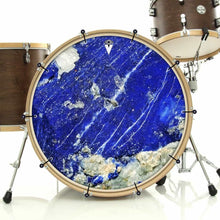 Lapis Lazuli bass face drum banner installed on drum kit by Visionary Drum; blue stone drum art